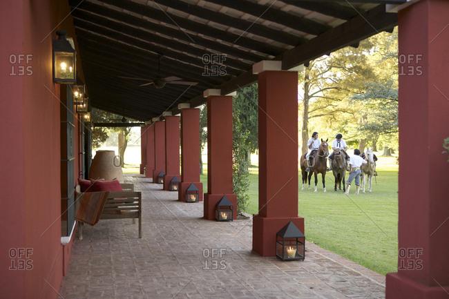 March 18, 2013: Patio of luxury estancia in San Antonio de Areco, Argentina