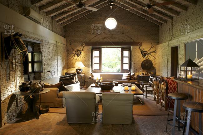 March 19, 2013: Interior of luxury ranch accommodations at San Antonio de Areco, Argentina