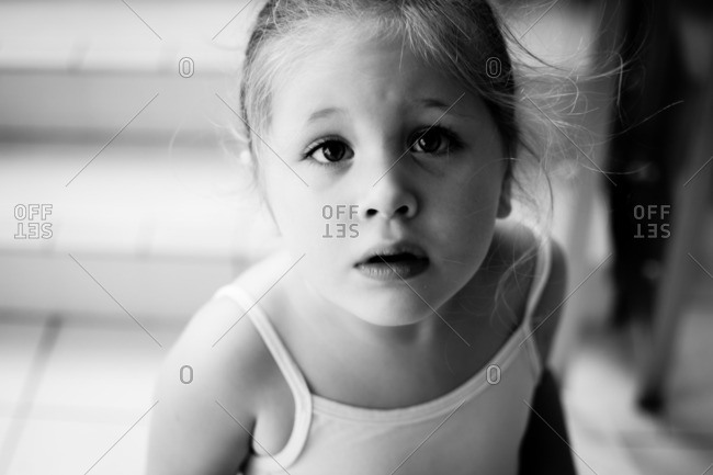 Portrait of a little girl in a ballerina outfit