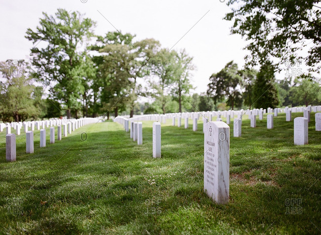 Rows of tombstones at Arlington National Cemetery in Arlington, Virginia
