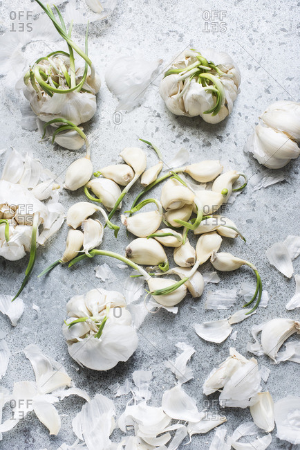 Peeled garlic and flaky skin on a stone surface