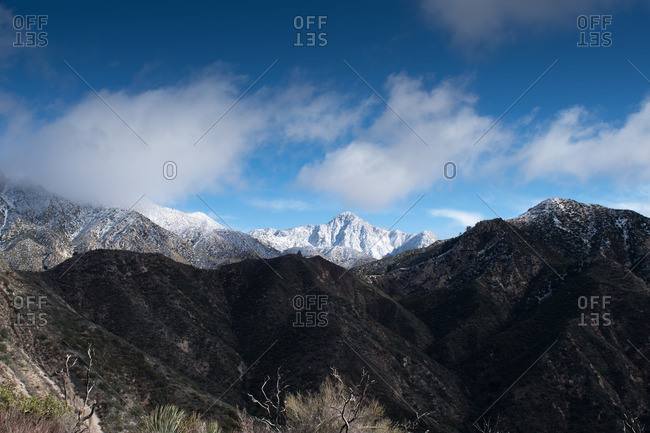Snowy peaks in the San Gabriel Mountains