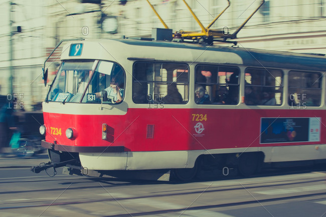 Prague, Czech Republic 4/27/16: Tram transporting passengers in Prague, Czech Republic