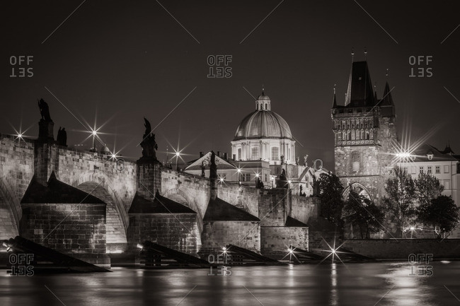 Charles Bridge and historic architecture in Prague, Czech Republic