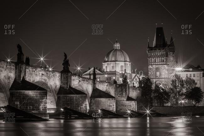 Charles Bridge and historic architecture in Prague, Czech Republic