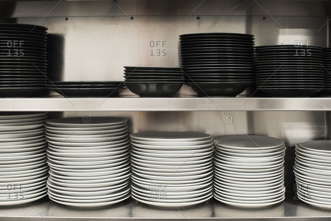 Stacks of plates in a restaurant