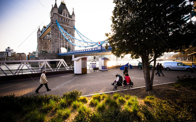 London, England - March 29, 2012: People near the Tower Bridge, London