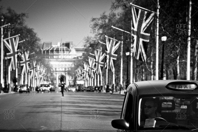 London, England - March 30, 2012: Black cab in London street