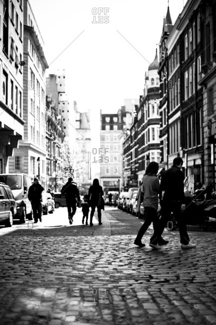 People walking in London street