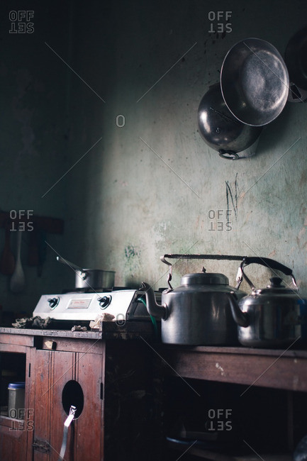 Various cooking items and hot plate
