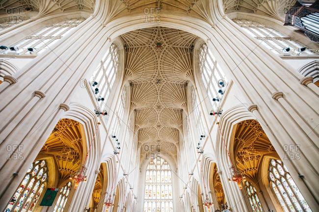 England - February 22, 2016: Vaulted ceiling, Bath Abbey, England