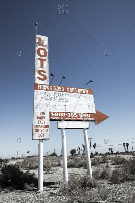 Salton Sea, California, 6/13/2015: Sign advertising lots for sale at Salton Sea Beach, California