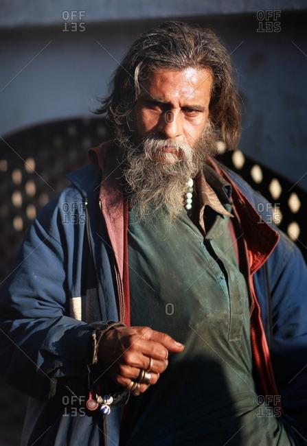 Pakistan - March 31, 2014: Portrait of a man in Pakistan wearing a jacket
