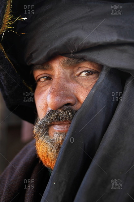 Pakistan March 31 2014 Man In A Black Turban And Henna Dyed