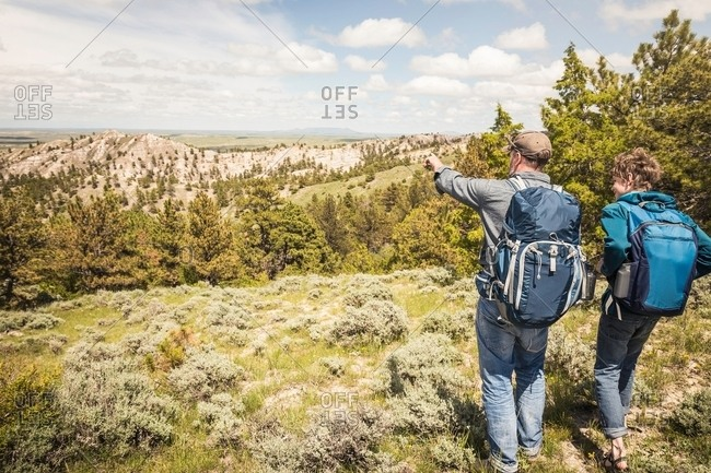 Rear view of father and teenage son pointing out to landscape on hiking trip, Cody, Wyoming, USA