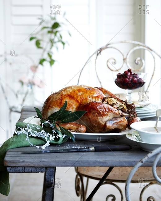 Roast chestnut turkey on patio christmas table