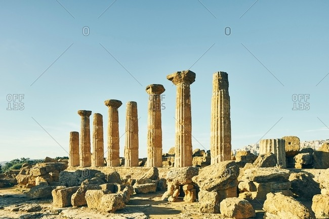 Remains of the Temple of Heracles, Valley of Temples, Agrigento, Sicily, Italy