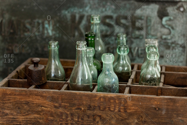 Wooden Crate And Vintage Bottles