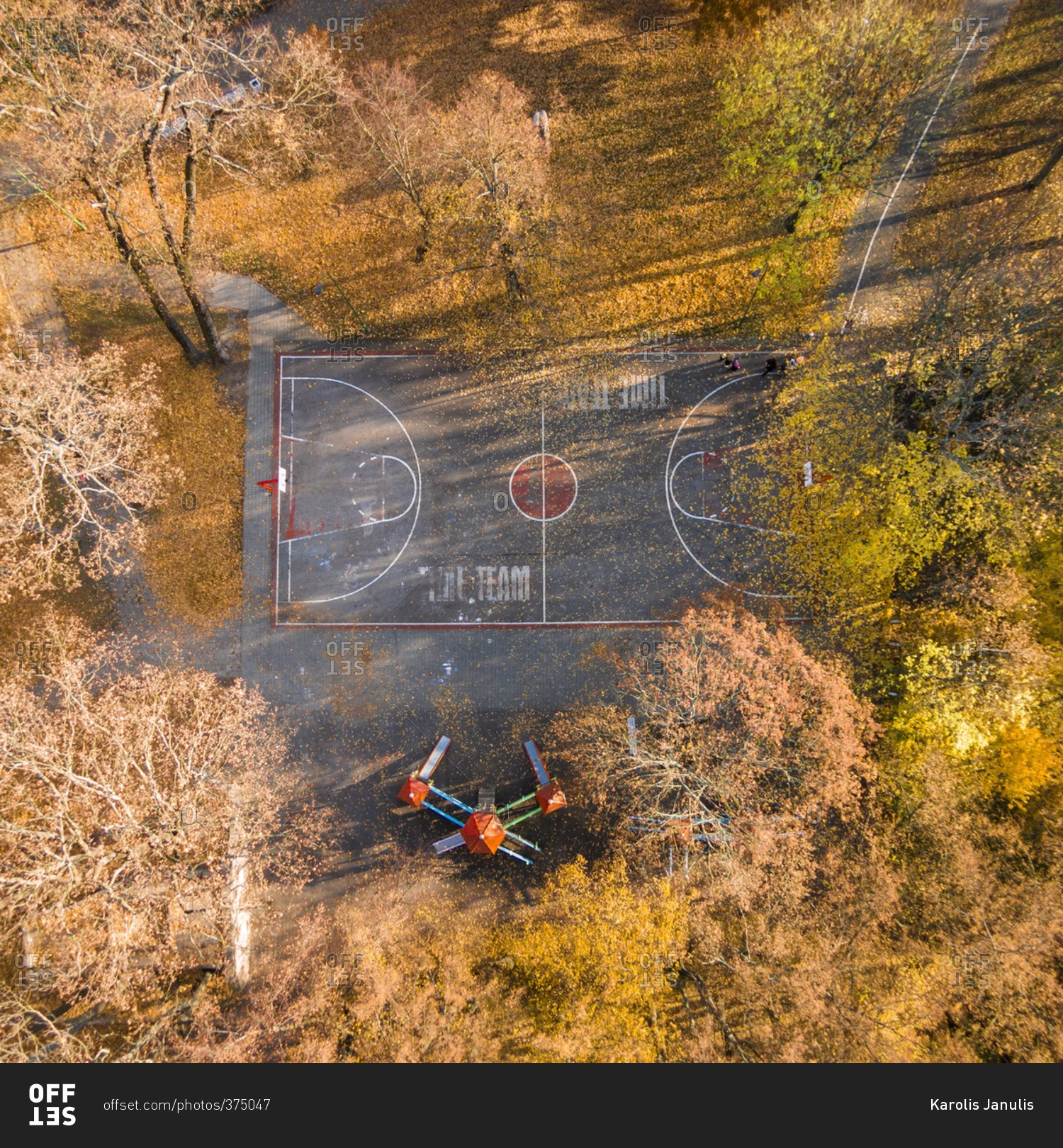 Warriors Path State Park Basketball Court: Basketball Court And Playground Equipment In An Autumn
