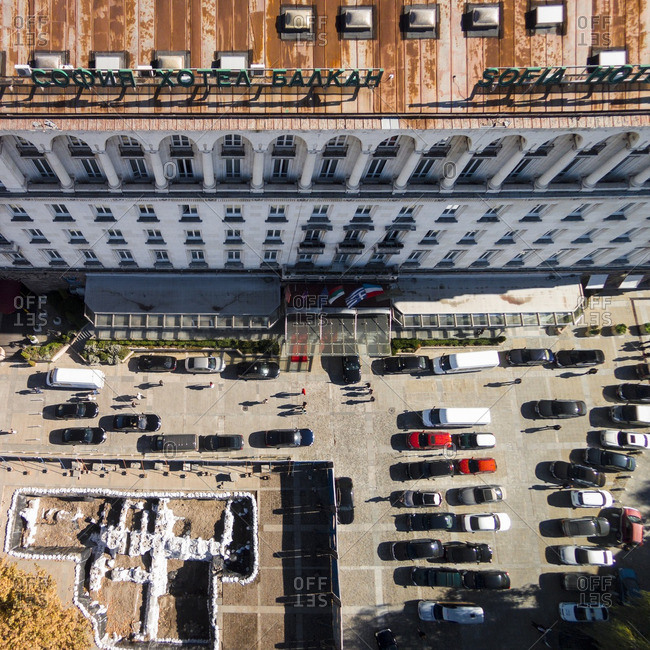 Hotel building and parking lot in the city of Sofia, Bulgaria
