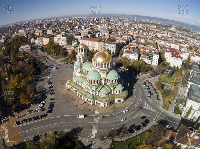 Alexandar Nevski Cathedral in surrounded by the city in Sofia, Bulgaria