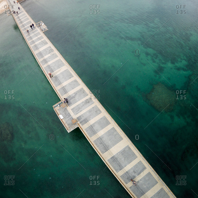 Pier over the Black Sea at Burgas, Bulgaria