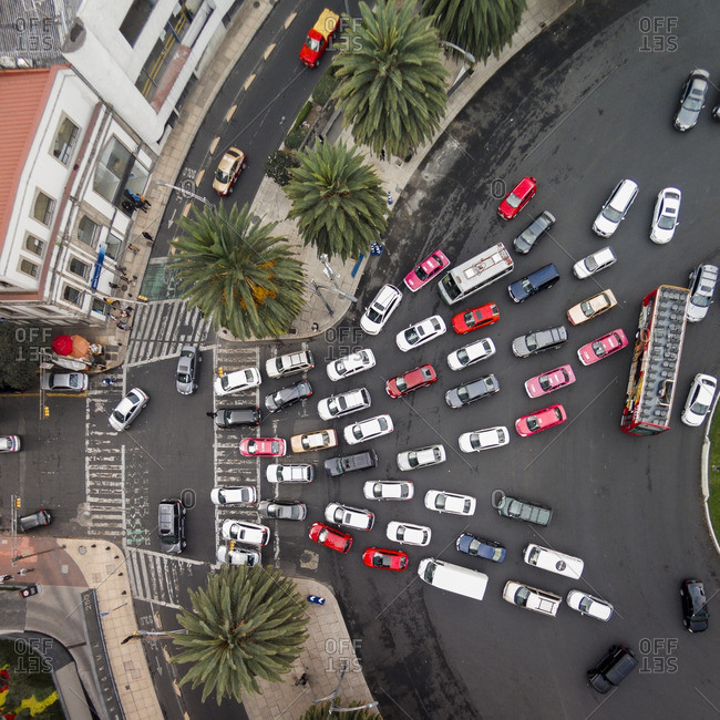 Traffic exiting the Glorieta de La Palma traffic circle in Mexico City