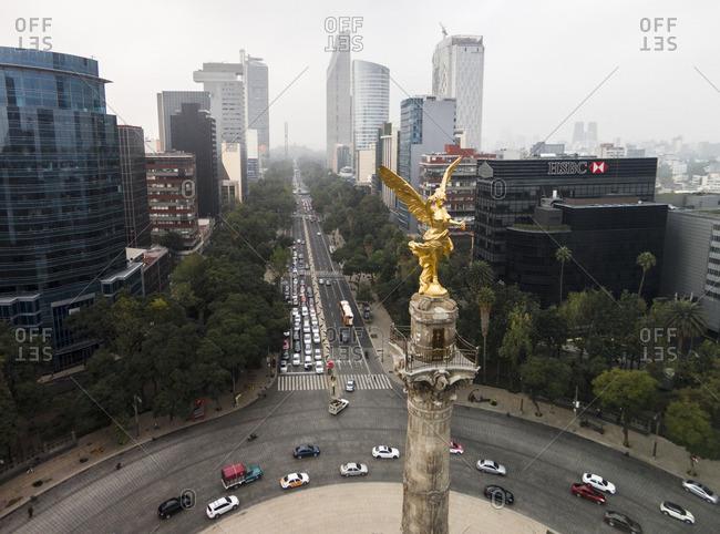 Mexico City, MEXICO - December 4, 2015: El Angel de la Independencia statue at a traffic circle