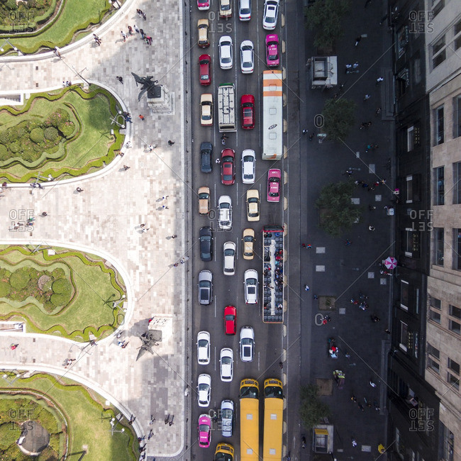 Traffic on a busy street in the center of Mexico City