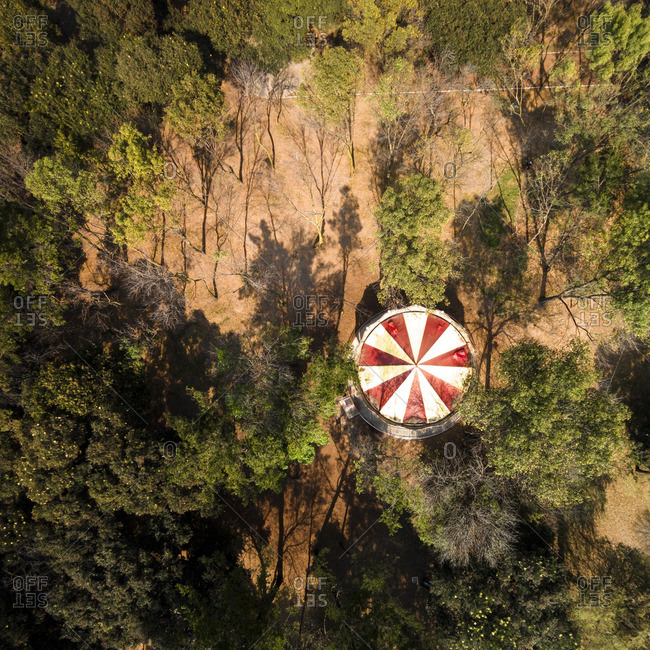 Top of a merry-go-round in a forest in Chapultepec Park, Mexico City