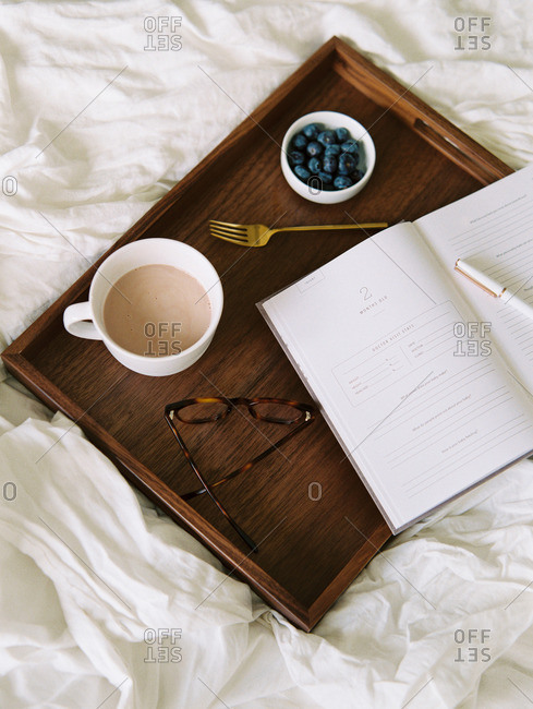 Bed Tray with Journal and Food