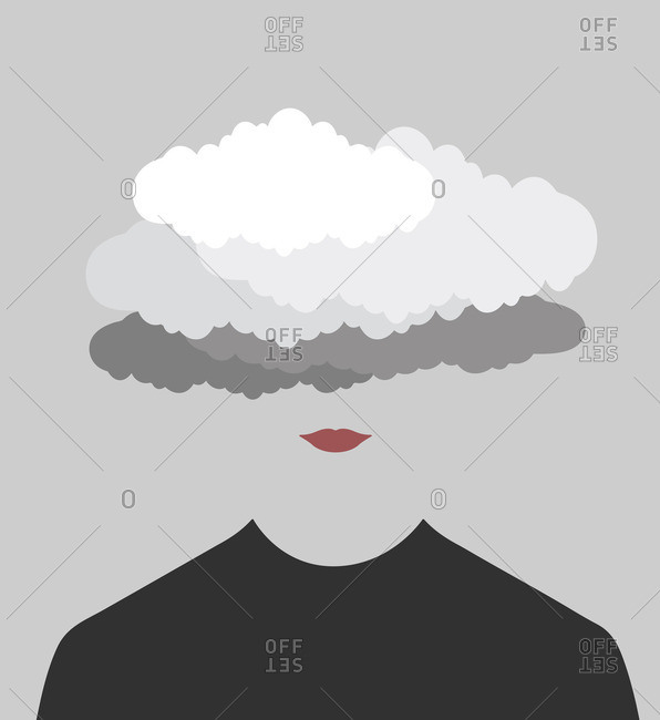 Person with their head in the clouds