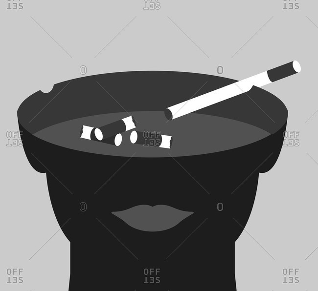 Illustration of person with an ashtray for a head