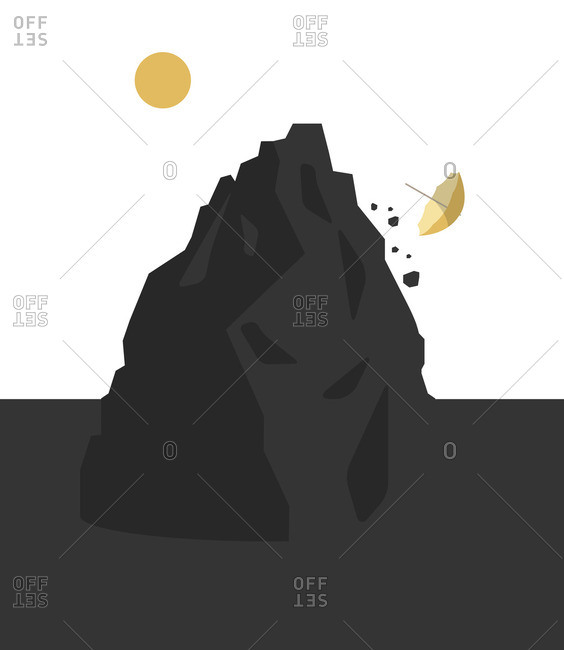 Sunshine over dark mountain