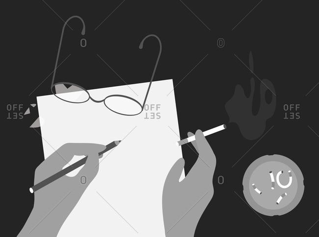 Poet smoking while working
