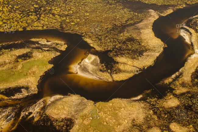 Aerial view of Okavango River delta in Botswana