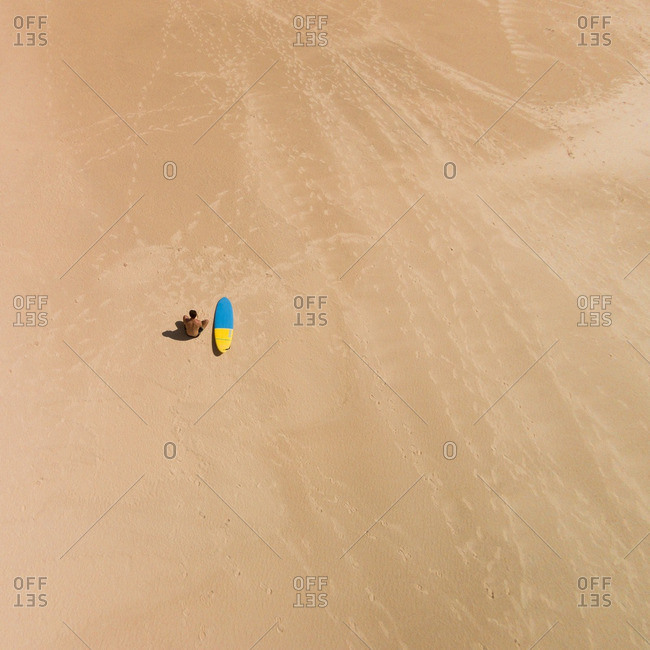 Corralejo, Canarias, SPAIN - February 24, 2016: Surfer in the dunes