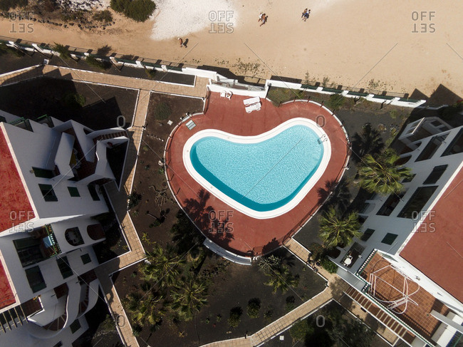 February 25, 2016: Pool in Corralejo, Canarias, Spain