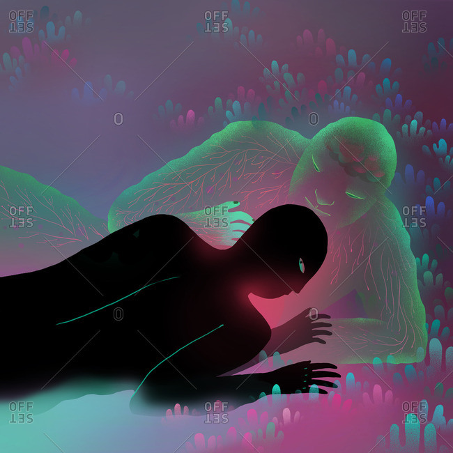 Translucent figure lying with silhouetted person