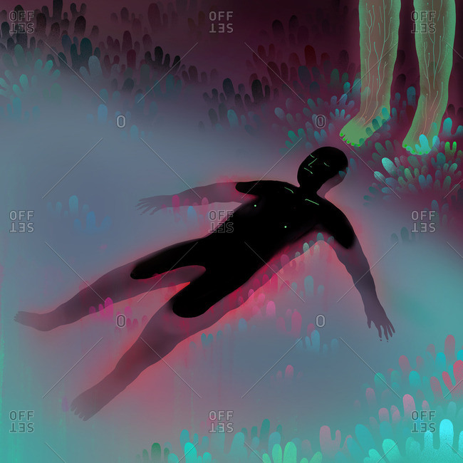 Black figure floating in liquid environment with translucent feet above