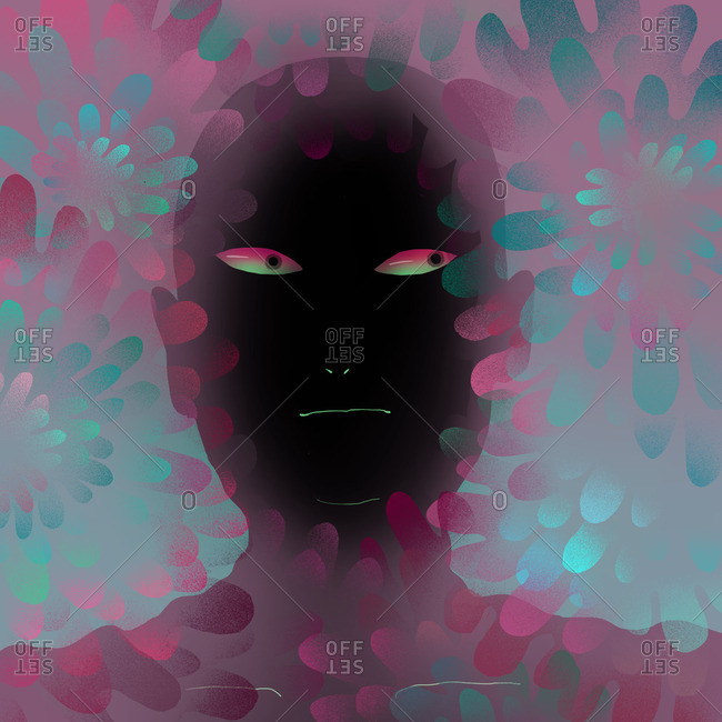 Black face with sideways glancing eyes surrounded by flowery shapes