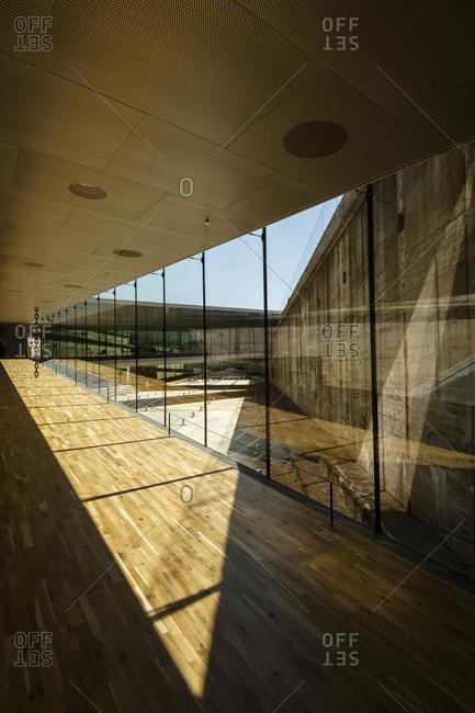 Helsingor, Denmark - July 3, 2015: Sunlit gallery in the Maritime Museum of Denmark