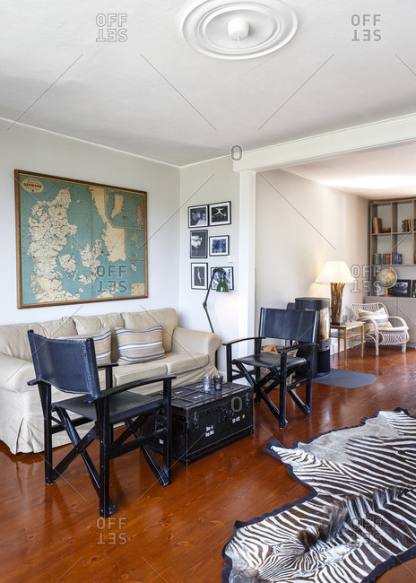 Tisvildeleje, Denmark - July 4, 2015: Living area in the Tisvildeleje Strandhotel