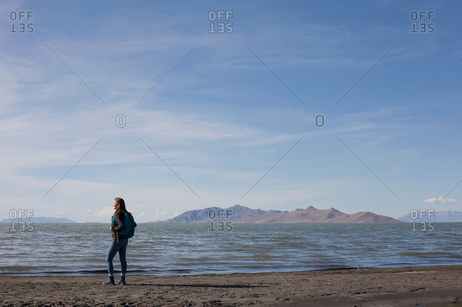 Rear view of young woman standing at waters edge looking out, Great Salt lake, Utah, USA