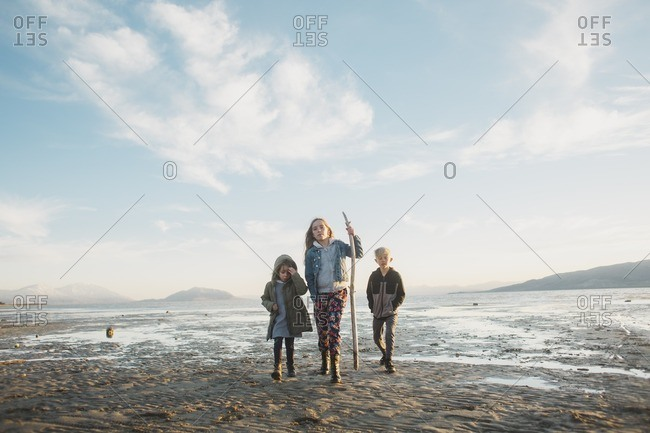 Children exploring the Great Salt Lake in Utah together