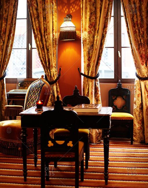 February 8, 2015: Desk area in warm home setting