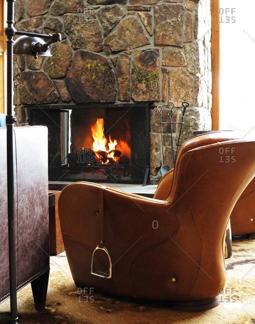 April 4, 2012: Leather armchair with stirrups