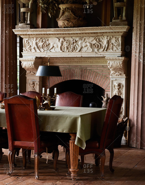 June 7, 2013: Dining room with ornate fireplace
