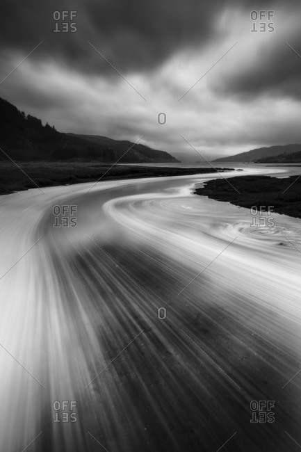 Scottish mountain lake in blurred motion