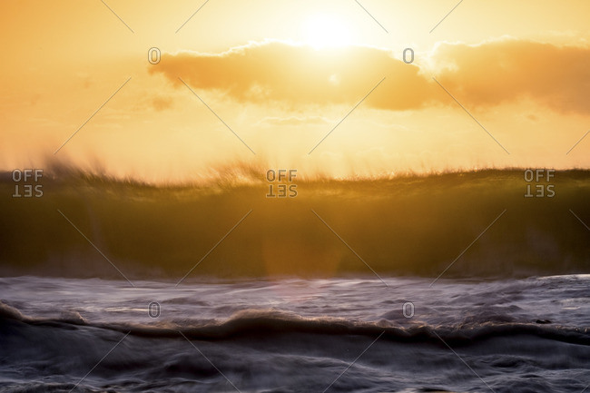 Rolling waves on a seashore at sunrise